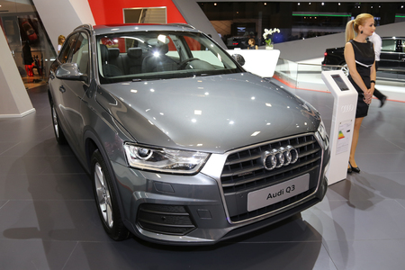 crossover: ISTANBUL, TURKEY - MAY 21, 2015: Audi Q3 in Istanbul Autoshow 2015