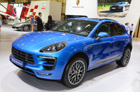 autoshow: ISTANBUL, TURKEY - MAY 21, 2015: Porsche Macan S Diesel in Istanbul Autoshow 2015