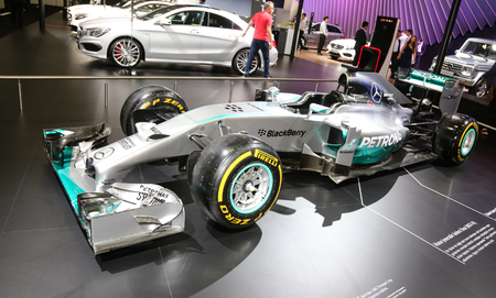 ISTANBUL, TURKEY - MAY 21, 2015: Mercedes Benz F1 car in Istanbul Autoshow 2015