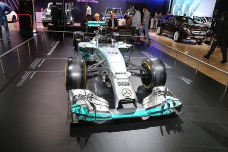f1: ISTANBUL, TURKEY - MAY 21, 2015: Mercedes Benz F1 car in Istanbul Autoshow 2015