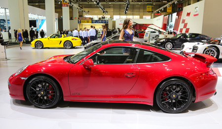 autoshow: ISTANBUL, TURKEY - MAY 21, 2015: Porsche 911 Carrera GTS in Istanbul Autoshow 2015 Editorial