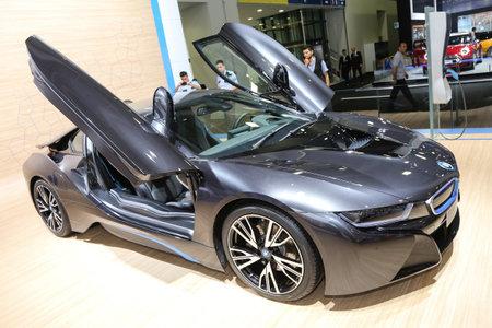 sportscar: ISTANBUL, TURKEY - MAY 21, 2015: BMW i8 in Istanbul Autoshow 2015