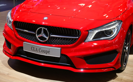 autoshow: ISTANBUL, TURKEY - MAY 21, 2015: Mercedes Benz CLA Coupe in Istanbul Autoshow 2015