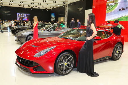 autoshow: ISTANBUL, TURKEY - MAY 21, 2015: Ferrari F12berlinetta in Istanbul Autoshow 2015 Editorial