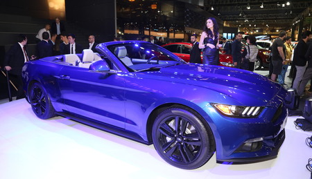 the sixth: ISTANBUL, TURKEY - MAY 21, 2015: Sixth generation Ford Mustang in Istanbul Autoshow 2015