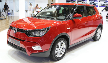 autoshow: ISTANBUL, TURKEY - MAY 21, 2015: SsangYong SUV in Istanbul Autoshow 2015