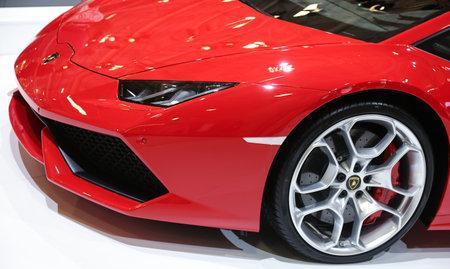 sportscar: ISTANBUL, TURKEY - MAY 21, 2015: Lamborghini Huracan LP 610-4 in Istanbul Autoshow 2015