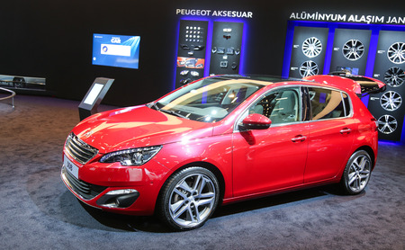 autoshow: ISTANBUL, TURKEY - MAY 21, 2015: Peugeot 308 in Istanbul Autoshow 2015
