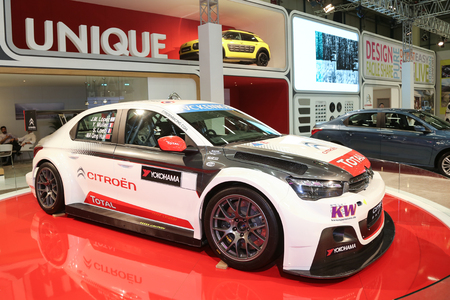 autoshow: ISTANBUL, TURKEY - MAY 30, 2015: Citroen World Touring Car Total C-Elysee in Istanbul Autoshow 2015