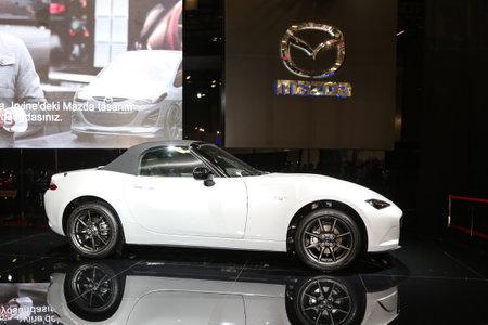 sportscar: ISTANBUL, TURKEY - MAY 21, 2015: Mazda MX-5 in Istanbul Autoshow 2015 Editorial