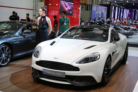 autoshow: ISTANBUL, TURKEY - MAY 21, 2015: Aston Martin Vanquish in Istanbul Autoshow 2015