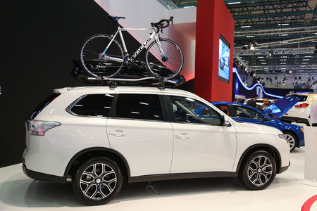 outlander: ISTANBUL, TURKEY - MAY 21, 2015: Mitsubishi Outlander in Istanbul Autoshow 2015
