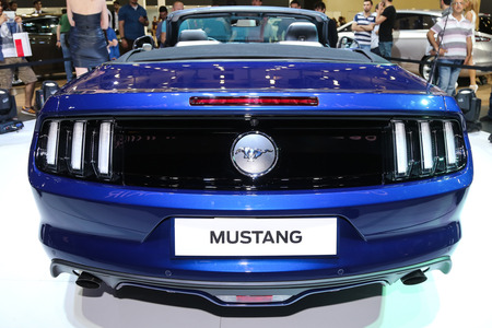 the sixth: ISTANBUL, TURKEY - MAY 30, 2015: Sixth generation Ford Mustang in Istanbul Autoshow 2015