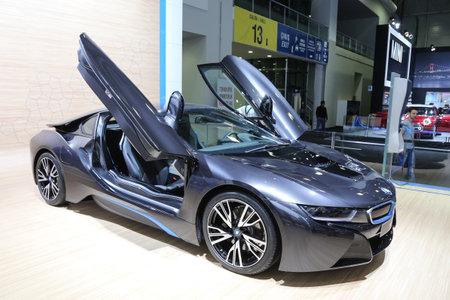 autoshow: ISTANBUL, TURKEY - MAY 30, 2015: BMW i8 in Istanbul Autoshow 2015