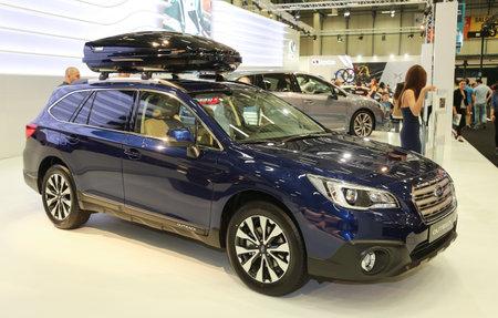 subaru: ISTANBUL, TURKEY - MAY 30, 2015: Subaru Outback in Istanbul Autoshow 2015 Editorial