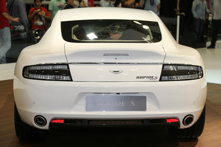 30 s: ISTANBUL, TURKEY - MAY 30, 2015: Aston Martin Rapide S in Istanbul Autoshow 2015 Editorial