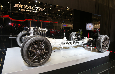 chassis: ISTANBUL, TURKEY - MAY 30, 2015: Skyactiv Chassis Technology of Mazda in Istanbul Autoshow 2015