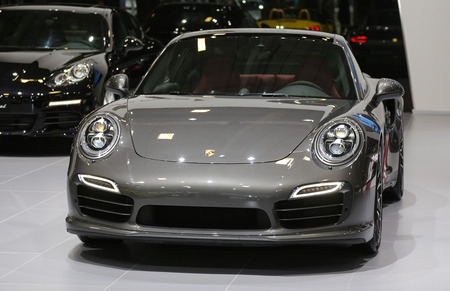 30 s: ISTANBUL, TURKEY - MAY 30, 2015: Porsche 911 Turbo S in Istanbul Autoshow 2015