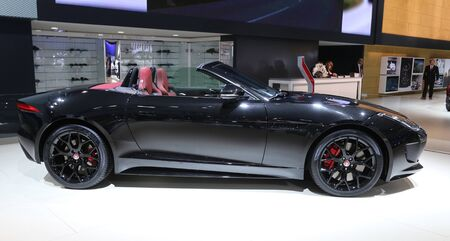 30 s: ISTANBUL, TURKEY - MAY 30, 2015: Jaguar F-Type S in Istanbul Autoshow 2015