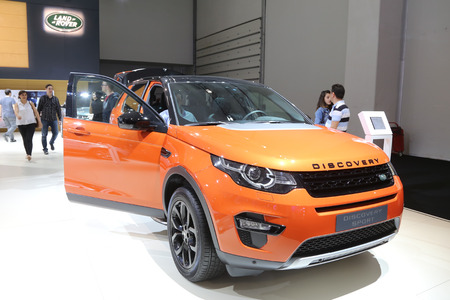 autoshow: ISTANBUL, TURKEY - MAY 30, 2015: Land Rover Discovery Sport in Istanbul Autoshow 2015
