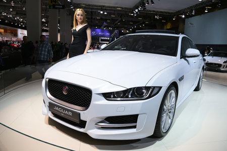 autoshow: ISTANBUL, TURKEY - MAY 30, 2015: Jaguar XE in Istanbul Autoshow 2015 Editorial
