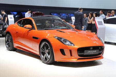 sportscar: ISTANBUL, TURKEY - MAY 30, 2015: Jaguar F-Type S in Istanbul Autoshow 2015