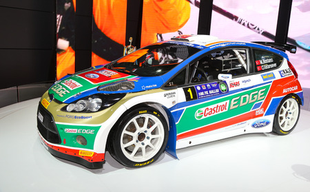 autoshow: ISTANBUL, TURKEY - MAY 21, 2015: Ford Fiesta S2000 of Castrol Ford Team Turkey in Istanbul Autoshow 2015