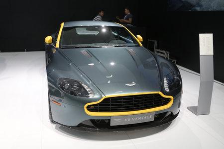 autoshow: ISTANBUL, TURKEY - MAY 21, 2015: Aston Martin V8 Vantage in Istanbul Autoshow 2015