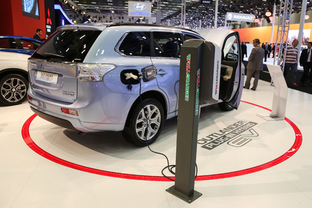 outlander: ISTANBUL, TURKEY - MAY 21, 2015: Mitsubishi Outlander PHEV in Istanbul Autoshow 2015 Editorial