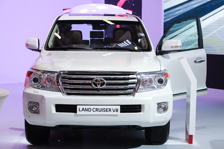 autoshow: ISTANBUL, TURKEY - MAY 21, 2015: Toyota Land Cruiser V8 in Istanbul Autoshow 2015 Editorial