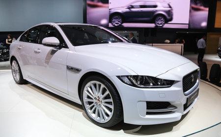 autoshow: ISTANBUL, TURKEY - MAY 21, 2015: Jaguar XE in Istanbul Autoshow 2015