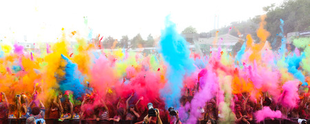 crowded: ISTANBUL, TURKEY - MAY 17, 2015: People gather and have fun in Kurucesme Arena after Color Up Run, Istanbul
