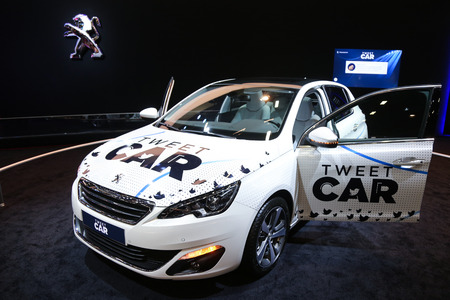 tweet: ISTANBUL, TURKEY - MAY 21, 2015: Peugeot 208 Tweet Car in Istanbul Autoshow 2015