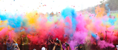 ISTANBUL, TURKEY - MAY 17, 2015: People gather and have fun in Kurucesme Arena after Color Up Run, Istanbul
