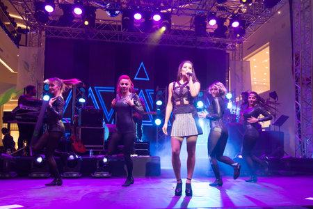 deniz: ISTANBUL, TURKEY - DECEMBER 26, 2014: Turkish Singer Atiye Deniz performs in New Year Concert of Akasya Mall Editorial