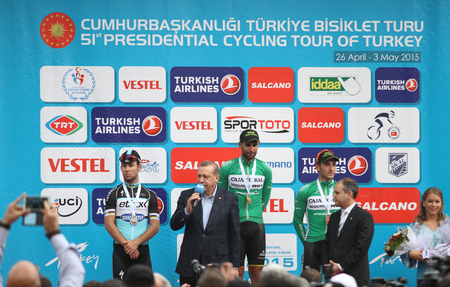 recep tayyip erdogan: ISTANBUL, TURKEY - MAY 03, 2015: Turkish President Recep Tayyip Erdogan make an award cyclists in podium of of 51st Presidential Cycling Tour of Turkey.