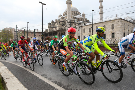 eminonu: ISTANBUL, TURKEY - MAY 03, 2015: Cyclists in Eminonu district during Istanbul Stage of 51st Presidential Cycling Tour of Turkey.