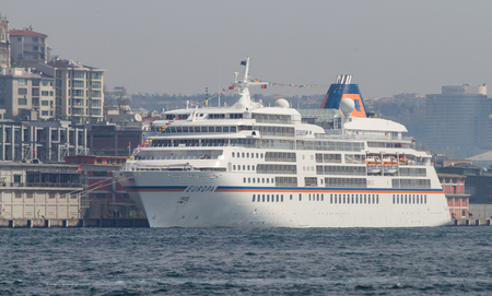 tonnage: ISTANBUL, TURKEY - APRIL 26, 2015: MS Europa Cruise Ship in Istanbul Port. Ship has 408 passenger capacity with 28,890 gross tonnage.