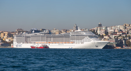 tonnage: ISTANBUL, TURKEY - NOVEMBER 05, 2014: MSC Preziosa Cruise Ship in Istanbul Port. Ship has 3,959 passenger capacity with 139,072 gross tonnage. Editorial