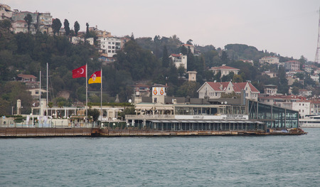 purchased: ISTANBUL, TURKEY - NOVEMBER 01, 2014: Galatasaray Islet on Bosphorus Strait. Island was built in 1872 by architect Sarkis Balyan, in 1957 Galatasaray purchased the islet. Editorial