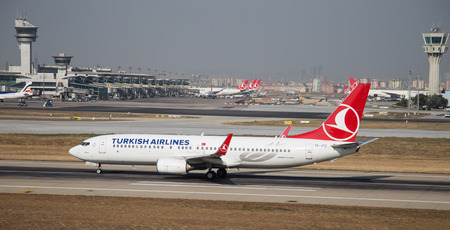 thy: ISTANBUL, TURKEY - JULY 09, 2015: Turkish Airlines Boeing 737-8F2 (CN 29784539) takes off from Istanbul Ataturk Airport. THY is the flag carrier of Turkey with 284 fleet size and 275 destinations