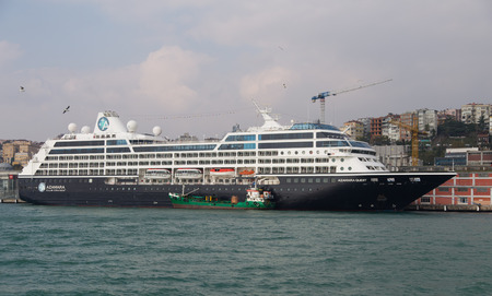 tonnage: ISTANBUL, TURKEY - NOVEMBER 01, 2014: Azamara Quest Cruise Ship in Istanbul Port. Ship has 694 passenger capacity with 30,277 Gross tonnage.