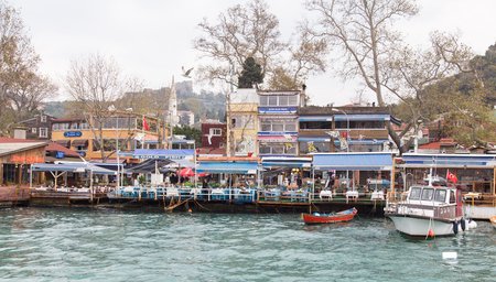 rumeli: ISTANBUL, TURKEY - NOVEMBER 01, 2014: Fish restaurants in Rumelikavagi coats in Istanbul. Rumelikavagi is famous with fishing and fish restaurants.