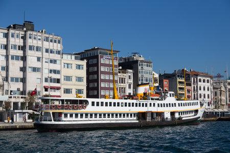 seaway: ISTANBUL, TURKEY - NOVEMBER 05, 2014: Sehir Hatlari ferry in Karakoy passenger port. Sehir Hatlari was established in 1844 and now carry 150,000 passengers a day.