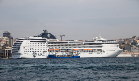 tonnage: ISTANBUL, TURKEY - APRIL 26, 2015: MSC Opera Cruise Ship in Istanbul Port. Ship has 2,055 passenger capacity with 58,058 gross tonnage. Editorial