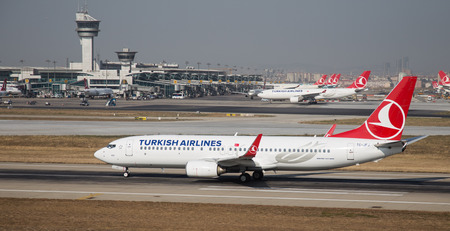 tk: ISTANBUL, TURKEY - JULY 09, 2015: Turkish Airlines Boeing 737-8F2 (CN 29772242) takes off from Istanbul Ataturk Airport. THY is the flag carrier of Turkey with 284 fleet size and 275 destinations