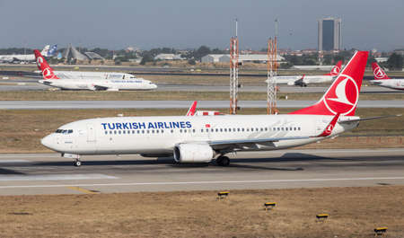 thy: ISTANBUL, TURKEY - JULY 09, 2015: Turkish Airlines Boeing 737-8F2 (CN 409894394) takes off from Istanbul Ataturk Airport. THY is the flag carrier of Turkey with 284 fleet size and 275 destinations