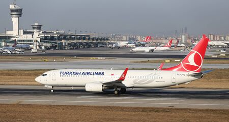 thy: ISTANBUL, TURKEY - JULY 09, 2015: Turkish Airlines Boeing 737-8F2 (CN 420094963) takes off from Istanbul Ataturk Airport. THY is the flag carrier of Turkey with 284 fleet size and 275 destinations