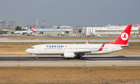thy: ISTANBUL, TURKEY - JULY 09, 2015: Turkish Airlines Boeing 737-8F2 (CN 357402673) takes off from Istanbul Ataturk Airport. THY is the flag carrier of Turkey with 284 fleet size and 275 destinations Editorial