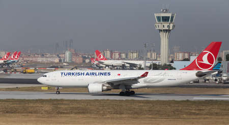 thy: ISTANBUL, TURKEY - JULY 09, 2015: Turkish Airlines Airbus A330-202 (CN 932) takes off from Istanbul Ataturk Airport. THY is the flag carrier of Turkey with 284 fleet size and 275 destinations